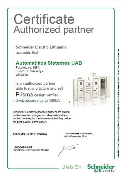 Automatikos sistemos - an authorized Schneider Electric partner able to design, manufacture and sell Schneider Prisma design verified switchboards up to 6300A.